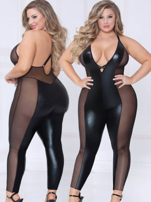 Seven 'til Midnight Wet Look Lamé & Sheer Mesh Panelled Bodysuit (plus Size)