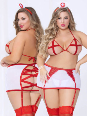 Seven 'til Midnight Sexy Peek-a-boo Nurse 4-pc Bedroom Costume (plus Size)