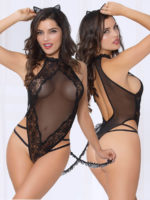 Seven 'til Midnight Sexy Kitty-cat 2-piece Lace & Mesh Bedroom Costume