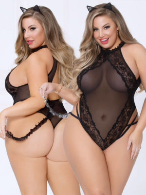 Seven 'til Midnight Sexy Kitty-cat 2-pc Lace & Mesh Bedroom Costume (plus Size)