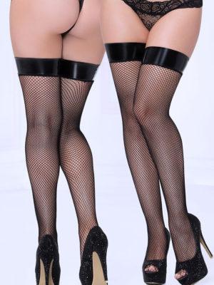 Seven 'til Midnight Wet Look Lamé-top Fishnet Stockings