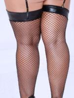 Seven 'til Midnight Wet Look Lamé-top Fishnet Stockings (plus Size)