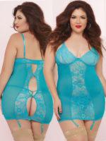 Seven 'til Midnight Unconditional Turquoise Chemise Set (plus Size)