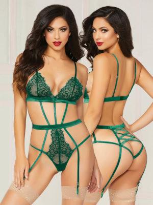 Seven 'til Midnight Gorgeously Green Lace Teddy & Eye Mask Set