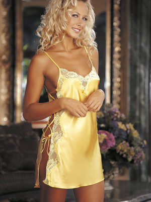 Shirley Of Hollywood 20015 Nightwear Chemise (buttercup Yellow)