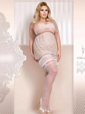 Ballerina Art.361 Hold Up Stockings (white) (plus Size)