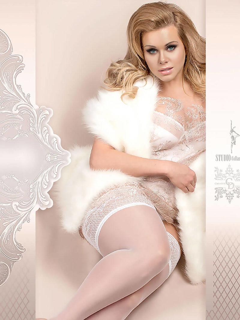 Ballerina Art.363 Hold Up Stockings (white) (plus Size)