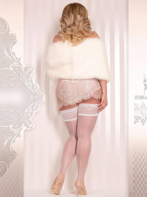 Ballerina Art.364 Hold Up Stockings (white) (plus Size)