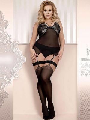 Ballerina Art.369 Hold Up Stockings (black/skin) (plus Size)
