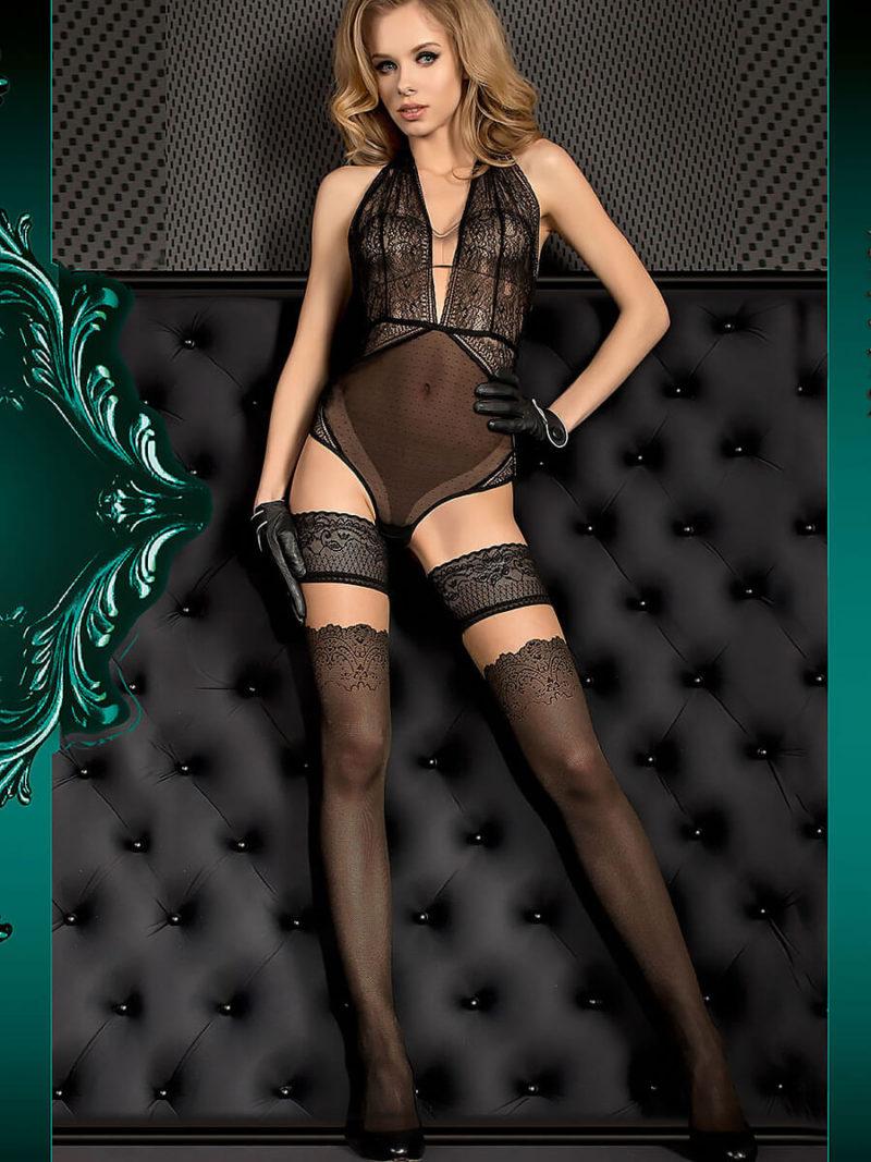 Ballerina Art.386 Hold Up Stockings (black/skin)