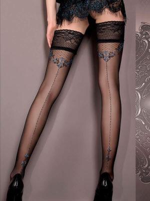 Ballerina Art.415 Hold Up Stockings (black)/blue