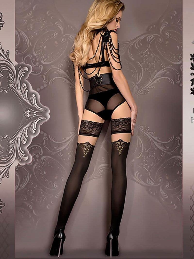 Ballerina Art.418 Hold Up Stockings (black/skin)/gold