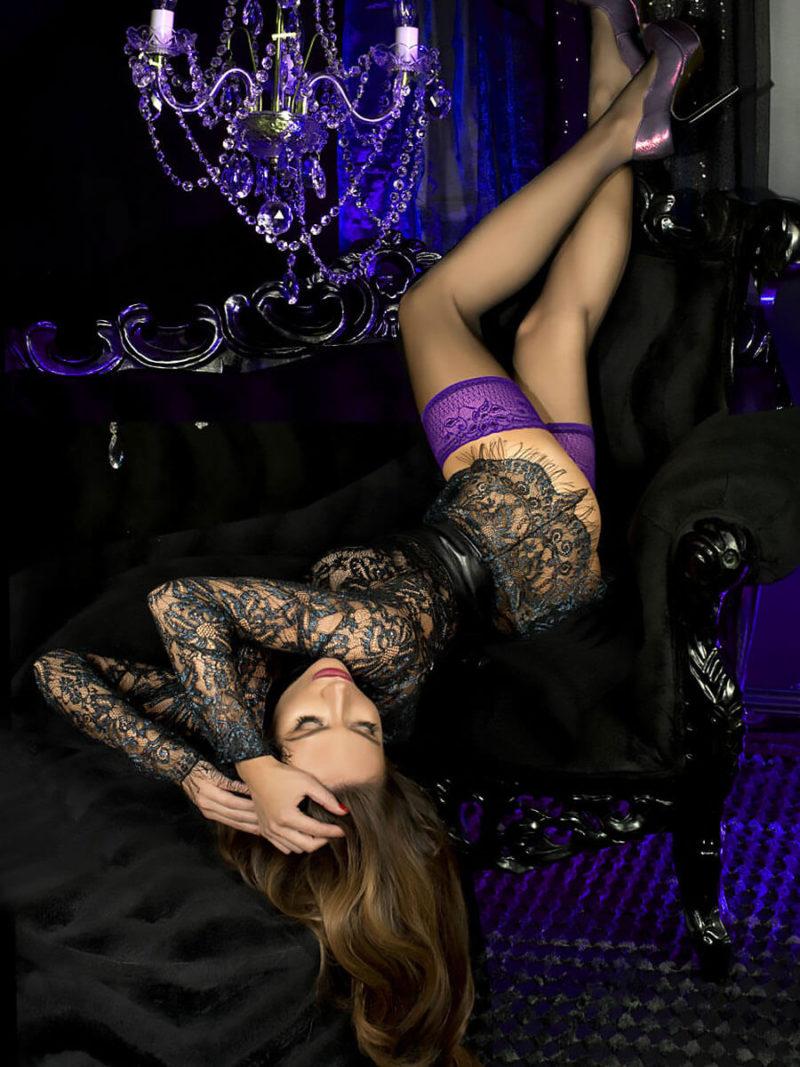 Ballerina Art.501 Lace Top Stockings (black/purple)
