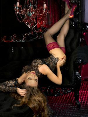 Ballerina Art.502 Lace Top Stockings (black/burgundy)