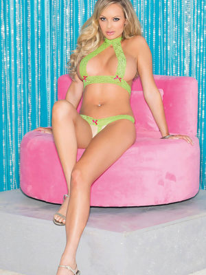 Shirley Of Hollywood 96506 Bedroom Wear Lingerie Set (lime Green)