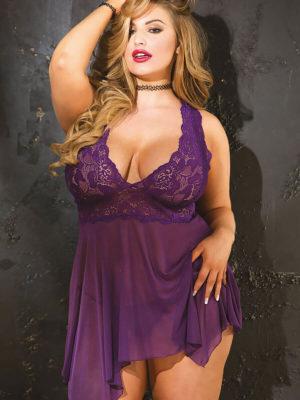 Shirley Of Hollywood 96618q Plus Size Chemise (purple)