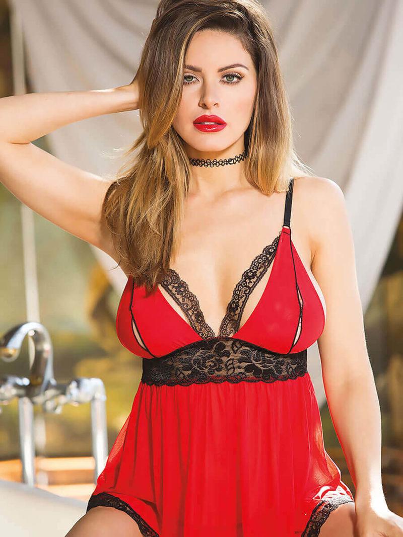 Shirley Of Hollywood 96623 Bedroom Wear Babydoll (red/black)