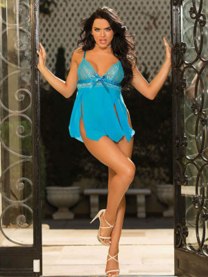 Shirley Of Hollywood 96744 Bedroom Wear Babydoll (turquoise)