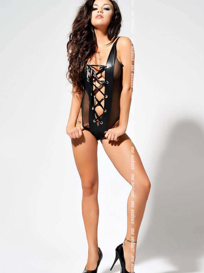Me Seduce 'avril' Erotic Fantasy Wet Look Open Front Body (black)
