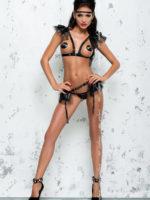 Me Seduce 'babette' Erotic Fantasy Frilly Open Cup Lingerie Set (black)