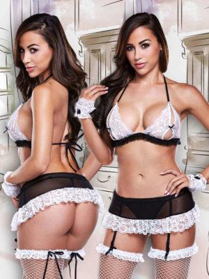 Sexy Maid Peekaboo Bra And Suspender-skirt Set