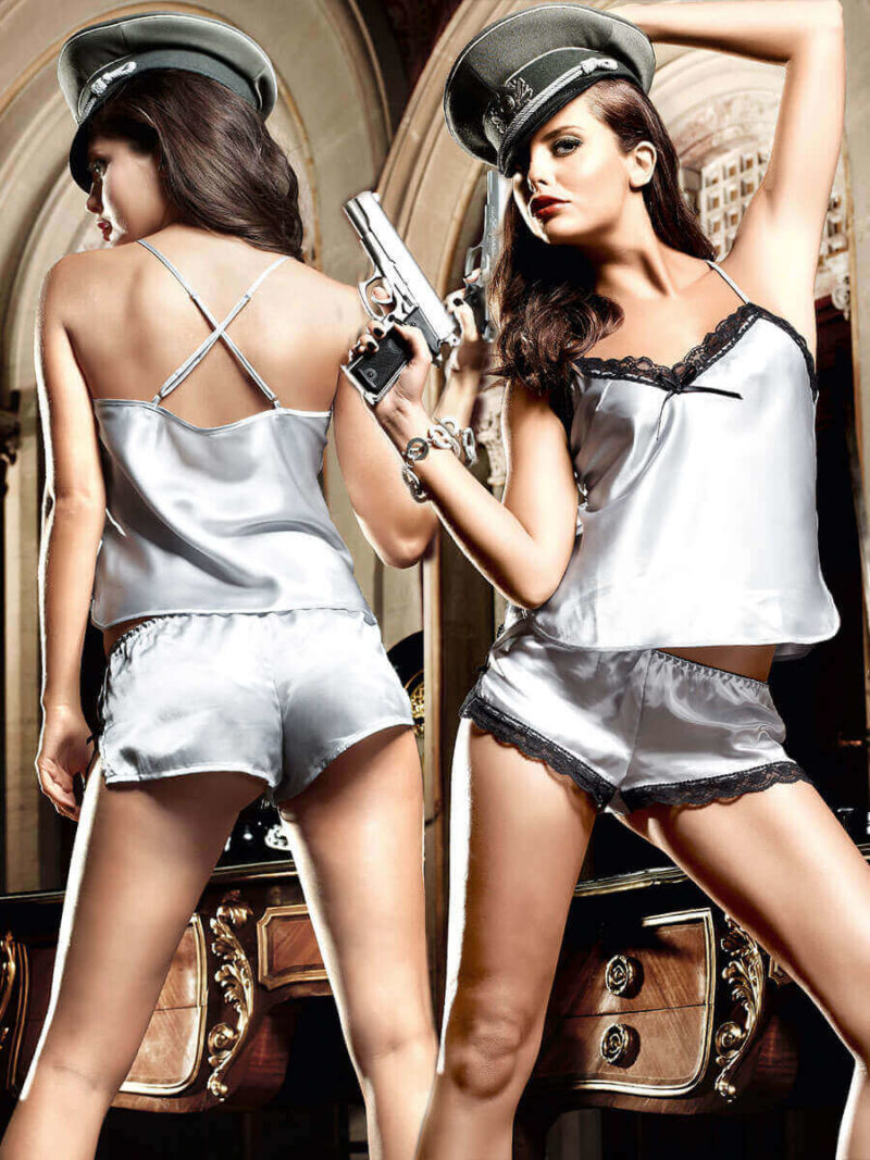 Baci Seduction Silver Grey Satin Camisole And Shorts Set