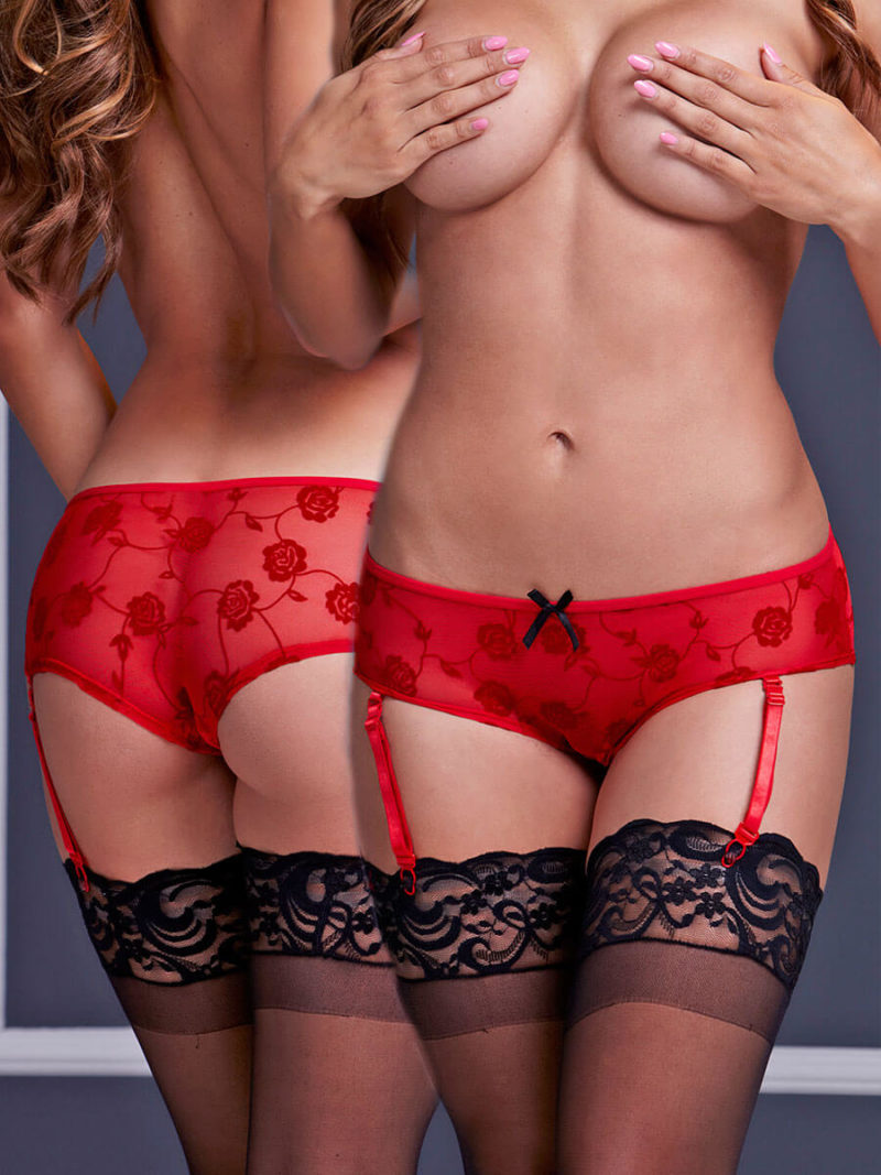 Baci Lingerie Sheer Mesh Crotchless Panty With Garters