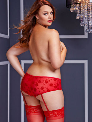 Baci Lingerie Sheer Mesh Crotchless Panty With Garters (plus Size)