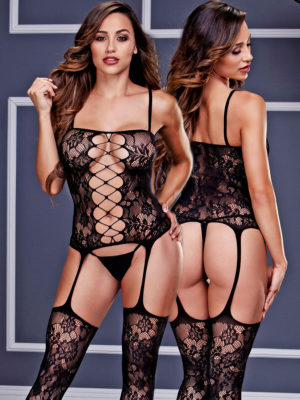 Baci Lingerie Corset And Suspender Lace Hosiery Bodystocking