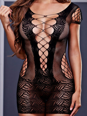 Baci Lingerie Fishnet And Lace Hosiery Mini Dress Bodystocking