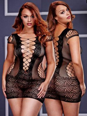 Baci Lingerie Fishnet And Lace Hosiery Mini Dress Bodystocking (plus Size)