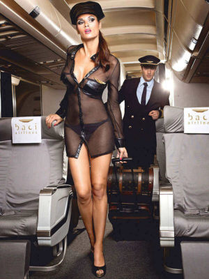 Sexy Airline Stewardess Black Long Sleeve Adult Costume