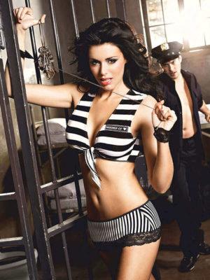 Sexy Police Prisoner Tie Top And Mini Skirt Costume