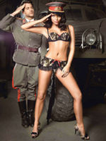 Sexy Army Bra, Panty And Mini Skirt Costume