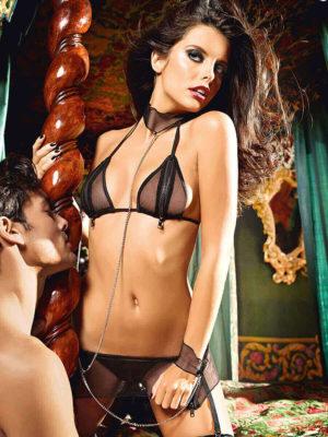 Baci Love Slave Zip Up Bra, Sheer Skirt And Cuffs