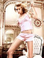 Baci Seduction Light Pink Satin Camisole And Shorts Set