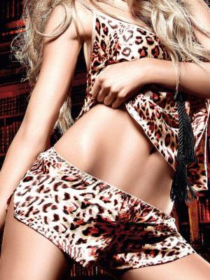 Baci Seduction Leopard Satin Camisole/shorts Set
