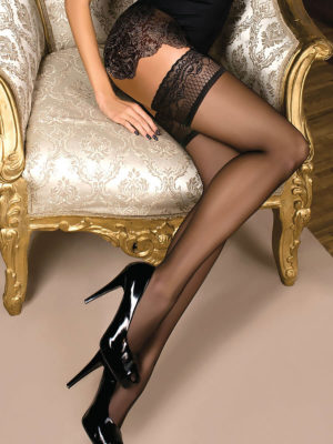 Ballerina Art.102 Lace Top Hold Up Stockings (black)