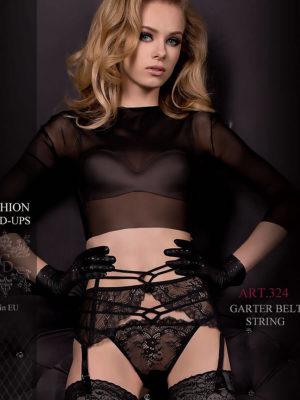 Ballerina Art.324 Garter Belt And Thong Black