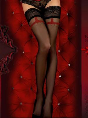 Ballerina Art.344 Hold Up Stockings (black/red)