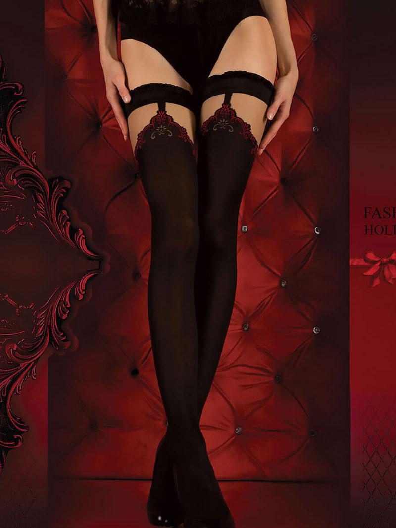 Ballerina Art.345 Hold Up Stockings (black/red)