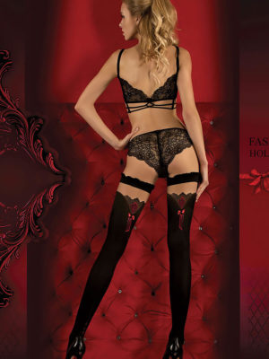 Ballerina Art.350 Hold Up Stockings (black/red)