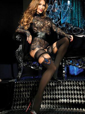 Ballerina Art.443 Hold Up Stockings (black/skin)
