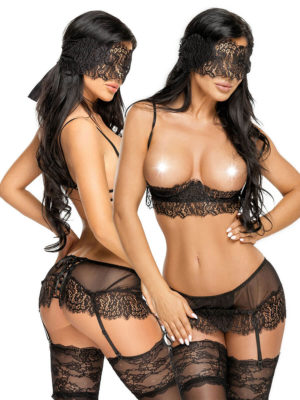 Beauty Night Serenity Black Lace Open Cup Lingerie Set