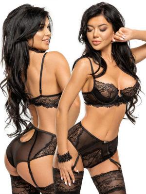 Beauty Night Ravenna Black Lace Garter Panty Lingerie Set