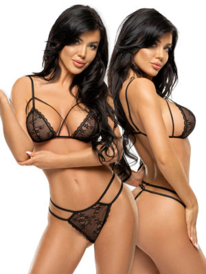 Beauty Night Aryana Sheer Lace Half Cup Lingerie Set