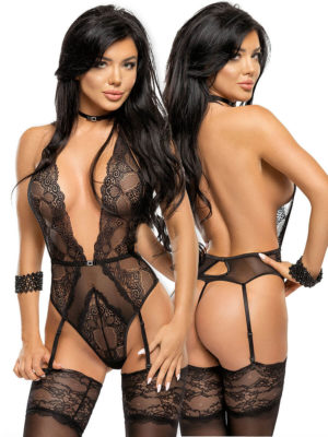 Beauty Night Adelaide Plunge Front Lace Garter Teddy