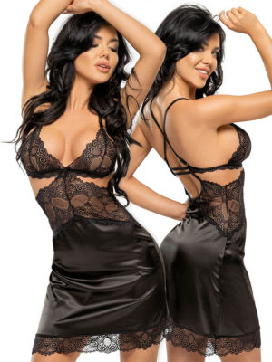 Beauty Night Adelaide Lace & Satin Chemise And Thong Set