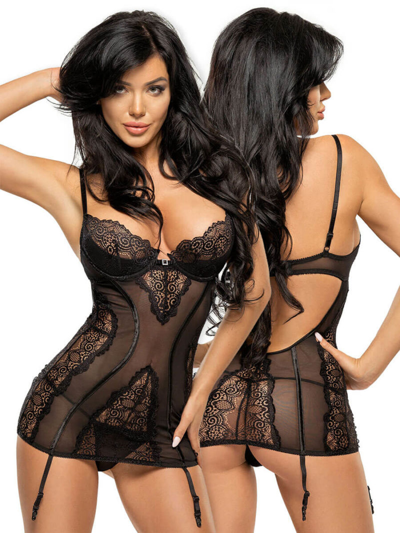 Beauty Night Ravenna Black Lace Garter Slip & Thong Set Set