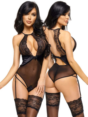 Beauty Night 'laurienne' Lace And Transparent Mesh Garter Teddy